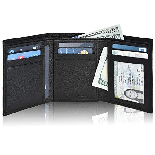 Slim Wallets for Men  Black Real Leather RFID Blocking Trifold Pocket Wallet