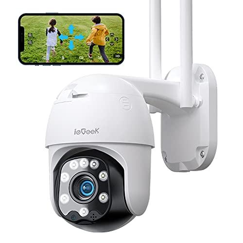 Telecamera WiFi Esterno Interno ieGeek 360 gradi PTZ Wi-Fi Sorveglianza con Visione Notturna a Colori 25m, Pan 355° e Tilt 90°, Auto Tracking, Movimento Rilevazione, Impermeabile IP66
