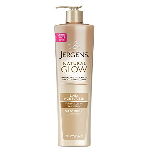 Jergens Natural Glow Sunless Tanning Lotion, Self Tanner for Fair to Medium Skin Tone, Body Lotion for Natural Looking Tan, 10 Fl Oz