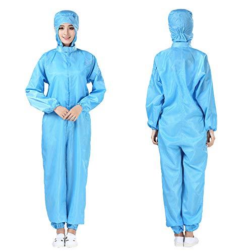 Overall Wegwerp Overall Werkkleding met Capuchon Veiligheidspak Blauwe Beschermende Kleding Voor Laboratorium Werkplaats Buiten Werken,XXXL