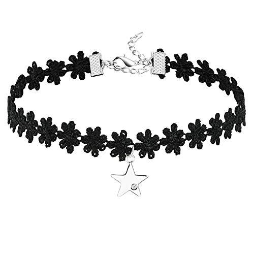 Daesar Collar Mujer,Collar Estrella Circonita Blanca Collar Acero Inoxidable Mujer Plata Negro
