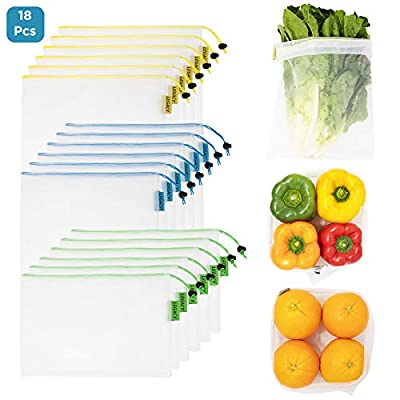 LEGACY - Set of 18 - Premium Reusable Produce Bags - Mesh with Drawstring for Fruits and Veggies - Green Eco-Friendly Sustainable Grocery Shopping - Washable - Fresh Food Storage