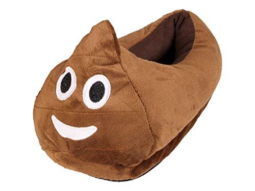 Alsino Emoji Kuschel Hausschuhe Emoticon Plüsch Smiley Schuhe Puschen rutschfest, Variante wählen:Kackhaufen;Größe wählen:27-29