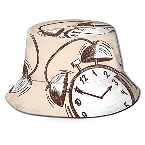 Yearinspace Sombrero de pescador reloj moda plegable portátil Sun Caps Unisex al aire libre para jardinería protección UV