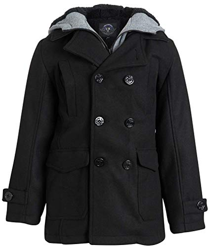 Urban Republic Boys' Wool Blend Hooded Peacoat with Faux-Fur Lining and Pockets