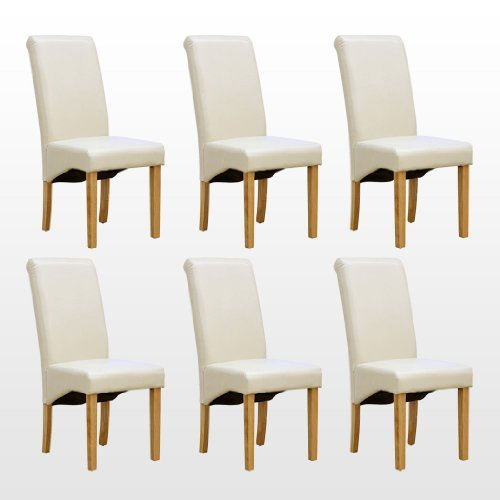 1home Set of 6 Faux Leather Dining Chairs Roll Top High Back with Solid Wooden Legs Oak Finish for Home & Commercial Living Room Bedroom Kitchen Restaurants Ivory
