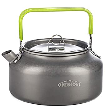 Overmont Camping Tea Pot Aluminum 27/42 FL OZ Outdoor Hiking Gear Portable Teapot Lightweight with Silicon Handle