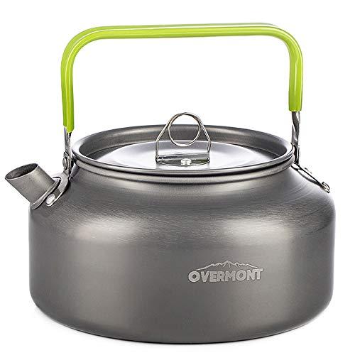 Overmont Camping Wasserkocher Kessel Teekanne Kaffeekanne Tragbar Aluminium FDA genehmigt für Outdoor Picknick Wandern 1,2I