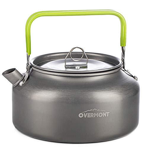 Overmont Camping Kettle Camp Tea Kettle Camping Coffee Pot Aluminum 27/42 FL OZ Outdoor Hiking Kettle Camping Gear Portable Teapot Compact and Lightweight with Silicon Handle