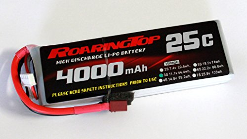 RoaringTop LiPo Battery Pack 25C 4000mAh 3S 11.1V with Deans Plug for RC Car Boat Truck Heli Airplane