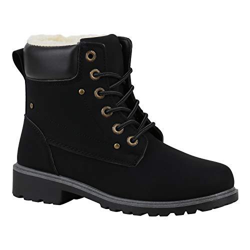 stiefelparadies Warm Gefütterte Worker Boots Damen Outdoor Stiefeletten Robust 165966 Schwarz Schwarz Dunkelbraun 37 Flandell