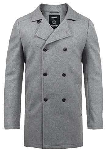 !Solid Harvey Herren Mantel Wollmantel Lange warme Übergangsjacke mit Doppelreihiger Knopfleiste, Größe:XXL, Farbe:Grey Melange (8236)