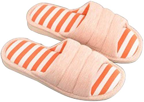 HUIYAN Plush Slippers Cotton slippers Anti-Slip Cotton slippers,Open-toe Knitted Stylish Striped Comfortable Slippers for Men and Women (Color : Orange, Size : 40-41#)