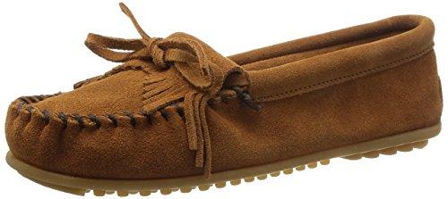 Minnetonka Women's Kilty Faux Fur Slippers, Suede Moccasin Slippers for Women 9 W Brown