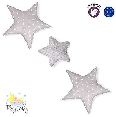 Dekokissen kinderzimmer Kissen Stern - Plüschkissen für Kinder Mädchen zierkissen rosa grau mit Sternen Set ø 30cm u. 2 x ø 60cm (grau-grau mit Sternen und Tupfen, 3er Set: 2 x 60cm, 1 x 30cm)