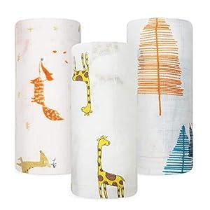 crib bedding and baby bedding babebay baby muslin swaddle blanket, 3-pack unisex bamboo swaddle blanket boys & girl, soft silky swaddling blankets wrap for newborn infant, large 47 x 47 inches (elephant theme)