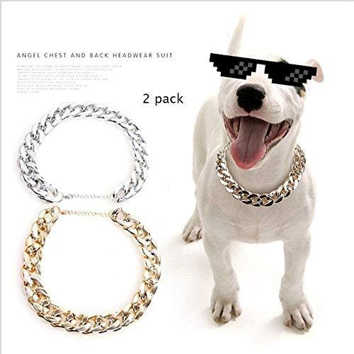 Mode Französisch Bulldogge Hund Katzenhals Bully Kunststoff Synthetische Goldkette Drehmoment Kleines und mittleres Hundehalsband Haustier Halskette Zubehör (2er Pack) (Farbe: Gold)-Gold * 1 Si