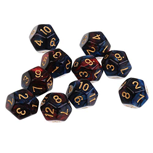 EQVUDJT 60 Piezas Dados de 12 Caras Dados D12 Dados poliédricos para Mazmorras y Dragones Party Table Games para Juego de Mesa (Color : Red Blue 12mm)