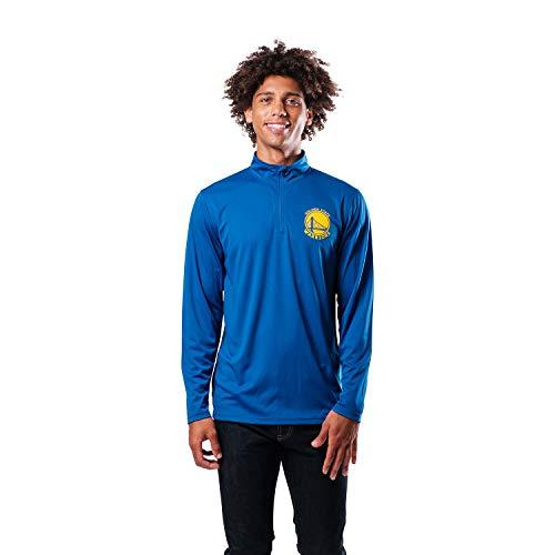 Ultra Game NBA Golden State Warriors Mens Quarter-Zip Pullover Active Shirt, Team Color, Small