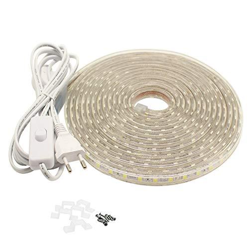 LED Strip 4 Meter mit Schalter und Stecker, 230V 5050 SMD IP65 Lichtstreifen 4M LED Band, Warmweiß
