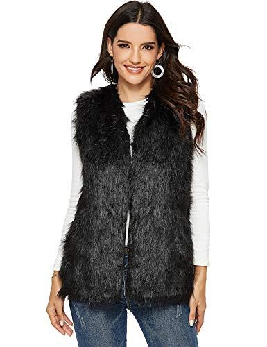 Escalier Women's Faux Fur Vest Waistcoat Sleeveless Jacket Black US 6