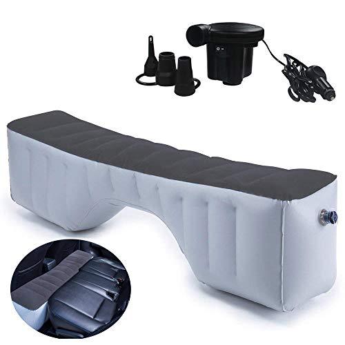HAPPYMOON カーマットレス 車中泊マット マットレス エアベッド 後部座席ギャップのパッド 快適空間 自動運転ツアーベッド用 アウトドアマット(グレー+12V 電動エアーポンプ)