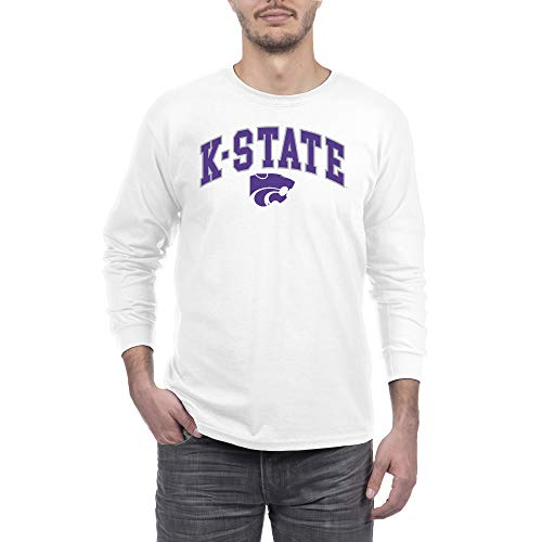 Elite Fan Kansas State Wildcats Men's Long Sleeve Arch Tee, White, X Large
