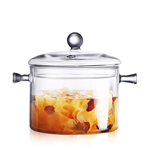 ONEISALL Glass Cooking Pot with Sponge Brush - 2L Casserole Dish with Lid, Heatable Saucepan, Clear Borosilicate Glass Stockpot for Salad Noodle Pasta Soup Milk