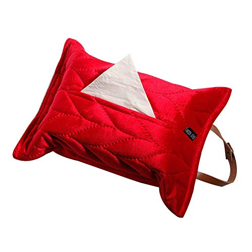Suytan Caja de almacenamiento de pañuelos creativa para colgar, práctico soporte de papel servilleta para casa, oficina, coche, color rojo
