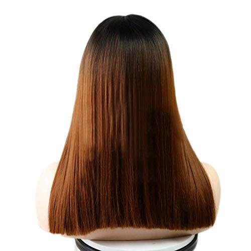 Peluca de encaje de pelo de peluca llena de pelo para mujer de encaje Frontal Fibra química Peluca negra Pelucas marrones con flequillo medio Longitud teñida de no hierro 16 pulgadas / 235 g (Color: G