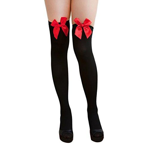 Oblique Unique® Sexy Strumpfhose -halterlos- Overknee Strümpfe - Party Kostüm Fasching Karneval (Overknee Schleife schwarz/rot)