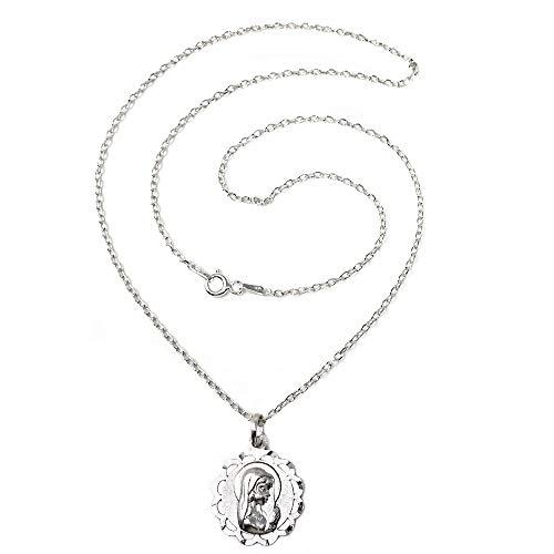 Colgante plata Ley 925m Virgen Niña medalla 18mm. calada redonda cadena 45cm. forzada [AC1104]
