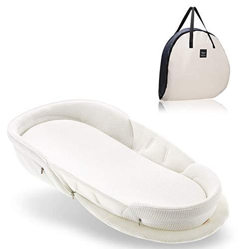 Bebamour Baby Nest Pod Newborn Foldable Travel Cot for 0-36 Months Portable Bassinet for Bed Bionic Baby Snuggle Nest Bed Baby Crib/Nest/Lounger/Bassinet/Sleeping Pod (White)