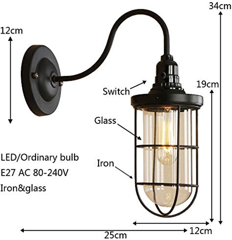 XY&XH Wandlampe, Moderne Retro-Eisenglaswandleuchte einfache Landschwarzwandleuchte LED E27 für Wohnzimmerrestaurantcafébahnganggangkorridor, B