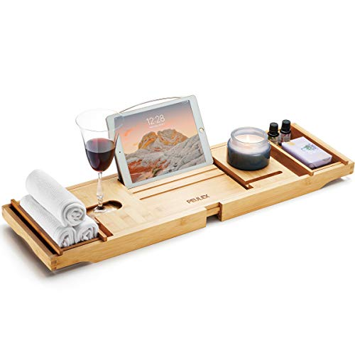 PEULEX Bathtub Tray- Bath Caddy Comes With Book, Soap Dish & Wine Glass Holder, Expandable Hot Tub Tray Designed With Premium Bamboo, For Luxurious Bathing, Great For Bath Lovers & Gift For Loved Ones