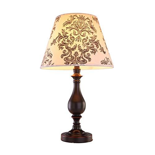 Xwyun l¨¢mpara de cabecera LED de la l¨¢mpara de hierro de los estados unidos, l¨¢mpara de tela impresa creativa l¨¢mpara de la sala de estar pastoral europea (negro: 48.5 x 30 cm)