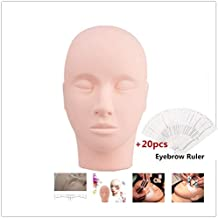 F-BBKO Pro Practice Training Head Cosmetology Mannequin Doll Face Head For Eyelashes Makeup Practice and 20Pcs Disposable Eyebrow Ruler Sticker for Gift