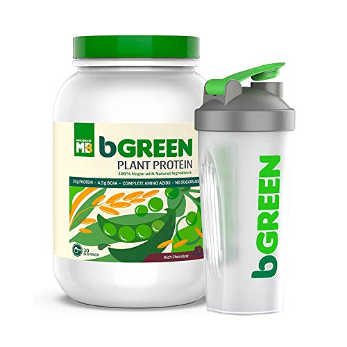 bGREEN by MuscleBlaze 100% VEGAN Plant Protein 1 KG 30 Servings , 25 G Pure Plant Protein, Complete Amino Acids, Rich Chocolate Flavour, Antioxidants repair, Faster Absorption, All Natural Ingredients With Free Shaker