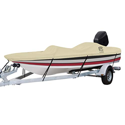 """Classic Accessories DryGuard Heavy Duty Waterproof Boat Cover For Bass Boats 16' - 18.5' L Up to 98"""" W"""