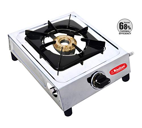 Khaitan 1 Burner Classic Stainless Steel Manual Ignition LPG Stove (Brass Burner) 1 Year Warranty (ISI Certified & BIS Approved), Silver