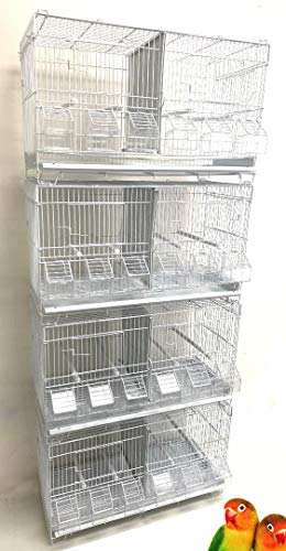 """Combo: Stack and Lock Double Breeder Cage Bird Breeding Cage with Removable Dividers and Breeder Doors 4 of 23.5"""" x 10.5"""" x 15.5""""H Cages (White with Six Feeders)"""