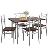 Casaria Conjunto de 1 Mesa y 4 sillas Paul Muebles de Cocina y de Comedor Roble Oscuro Mesa de MDF Resistente 110x70 cm
