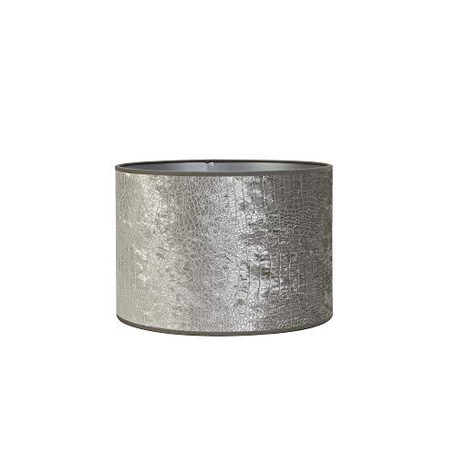 Light & Living Lampenschirm Zylinder Chelsea - Silber - Ø35 x 30 cm - Glänzender Stoff mit Druck