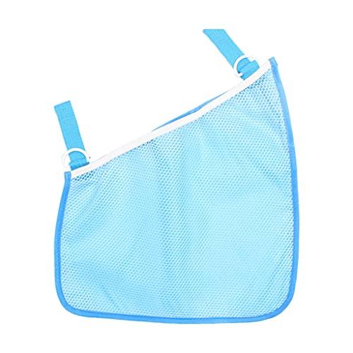 SM SunniMix Bolsa de red multifunción para cochecito de niño, bolsas de malla para colgar lateralmente, juguetes de transporte ligeros, accesorios de bolsillo - Azul
