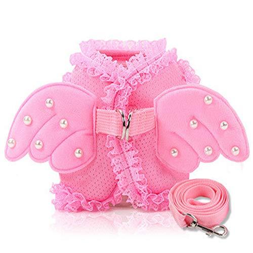 Puppy Sicherheitsgurt Hundeleine Hund Brust Rücken mit niedlicher Spitze Engel Perle Flügel Brustgurt weich / bequem, geeignet für Welpen, Katzen