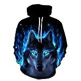 Lobo eléctrico Azul Unisexo Sudaderas con Capucha 3D Impresa Manga Larga Colorida Novedad Hoodie Suéter Deporte Capucha-M