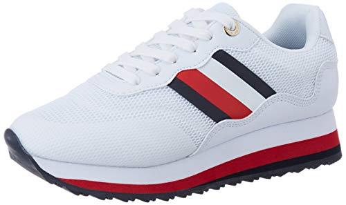 Tommy Hilfiger Damen Sporty Tommy Retro Runner Sneaker, Weiß (White Ybs), 38 EU