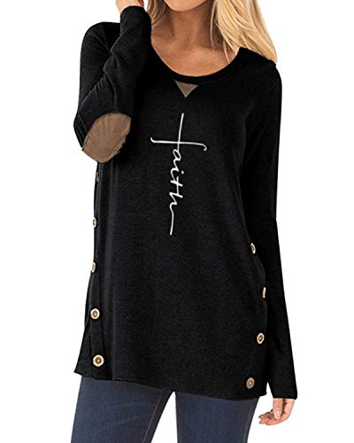 ZILIN Women's Faux Suede Elbow Patch T-Shirt Long Sleeve Letter Print Tunic Shirts Tops