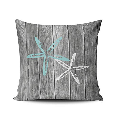 Fanaing Gray and Aqua Turquoise Beach and Starfish Pillowcase Home Sofa Decorative 18X18 Inch Square Throw Pillow Case Decor Cushion Covers One-Side Printed