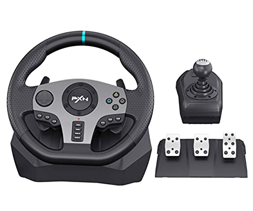 PC Game Racing Wheel PS4 Racing Steering Wheel PXN V9 Dual-Motor Feedback Driving, 270/900°Steering with Pedals and Joystick for PC/ Nintendo...